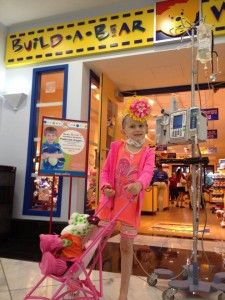 This is Brooke from Brooke's Blossems. With a backpack she wouldn't need an I.V. pole to visit build a bear.
